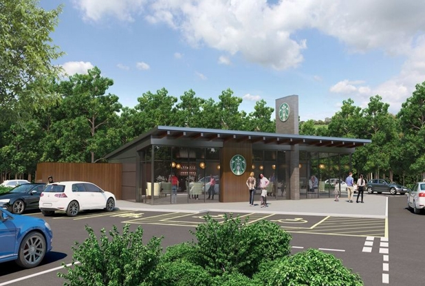 Plans For Drive Thru Starbucks Coffee Shop At Supermarket